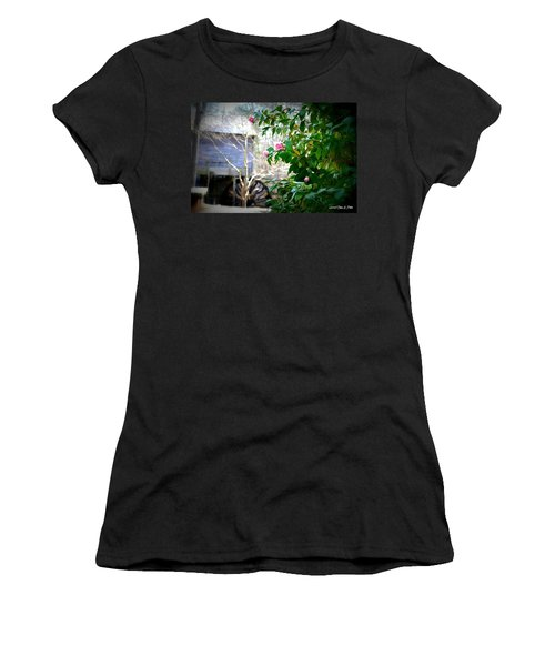 Women's T-Shirt (Junior Cut) featuring the photograph Grist Mill Roses by Tara Potts