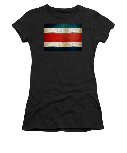 Grunge Costa Rica Flag Women's T-Shirt (Athletic Fit)