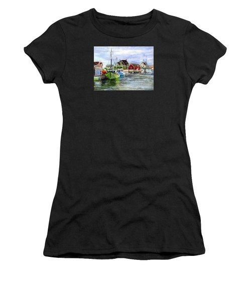 Peggys Cove Nova Scotia Watercolor Women's T-Shirt (Athletic Fit)
