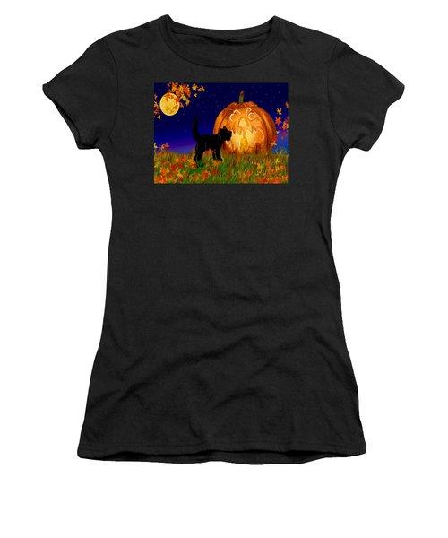 Halloween Black Cat Meets The Giant Pumpkin Women's T-Shirt (Athletic Fit)