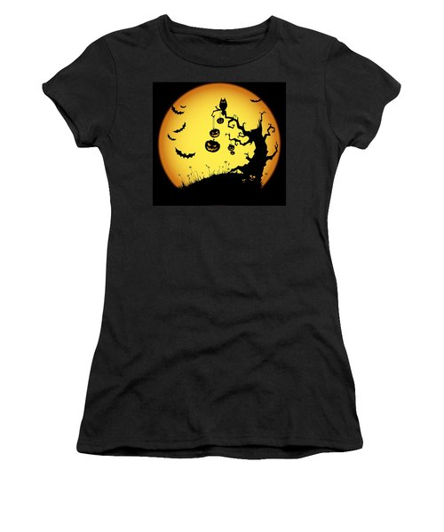 Women's T-Shirt (Junior Cut) featuring the photograph Halloween Haunted Tree by Gianfranco Weiss