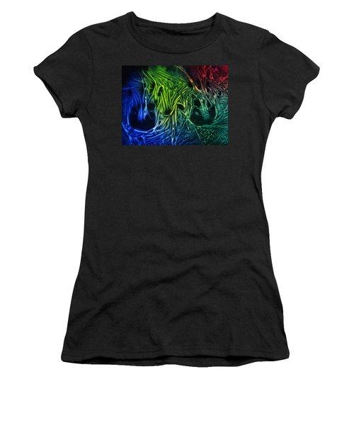 chemiluminescence photography Handprint Women's T-Shirt (Junior Cut) by David Mckinney