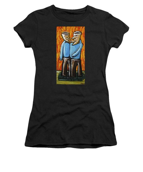 Women's T-Shirt (Junior Cut) featuring the painting Happiness 12-008 by Mario Perron