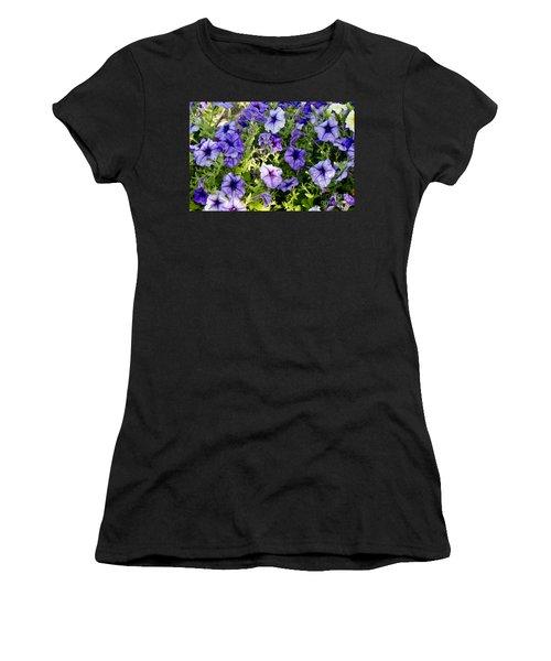 Happy Flowers Women's T-Shirt (Junior Cut) by Wilma  Birdwell