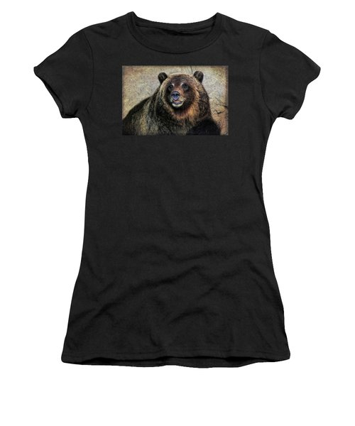 Happy Grizzly Bear Women's T-Shirt (Athletic Fit)