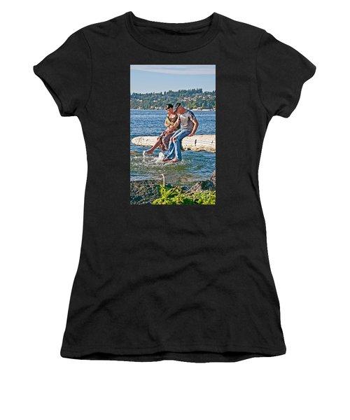 Happy Older Couple Splashing Feet In Water Art Prints Women's T-Shirt