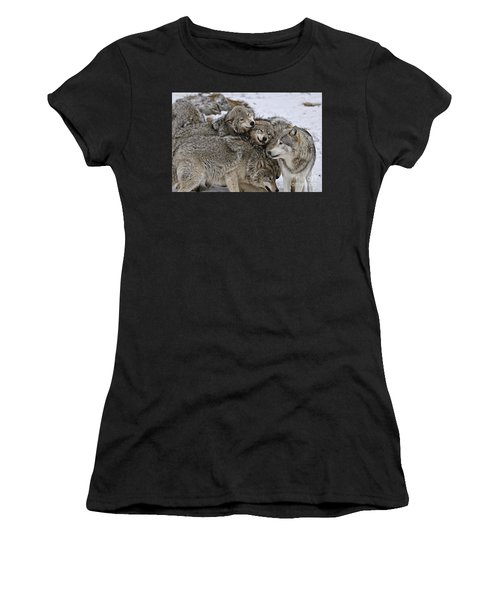 Happy Wolf Pack Women's T-Shirt (Athletic Fit)