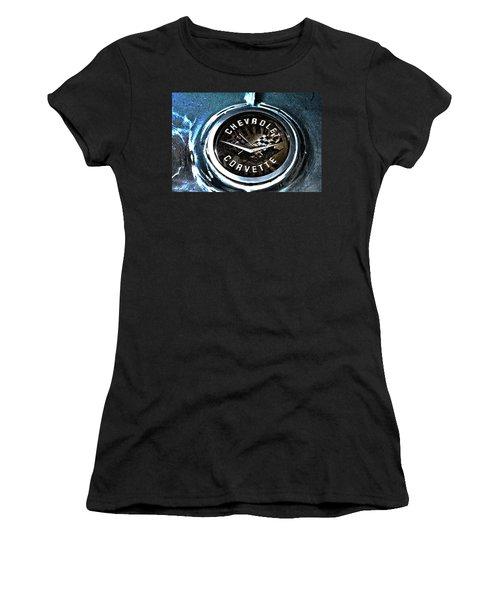 Women's T-Shirt (Junior Cut) featuring the photograph Hdr Vintage Corvette Emblem Art by Lesa Fine