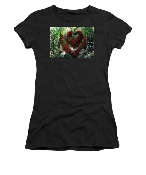 Women's T-Shirt (Junior Cut) featuring the photograph Hearts And Flowers by Jennifer Wheatley Wolf