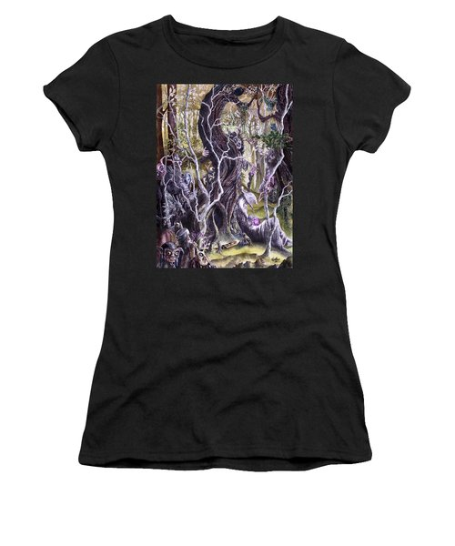Women's T-Shirt (Junior Cut) featuring the painting Heist Of The Wizard's Staff 2 by Curtiss Shaffer