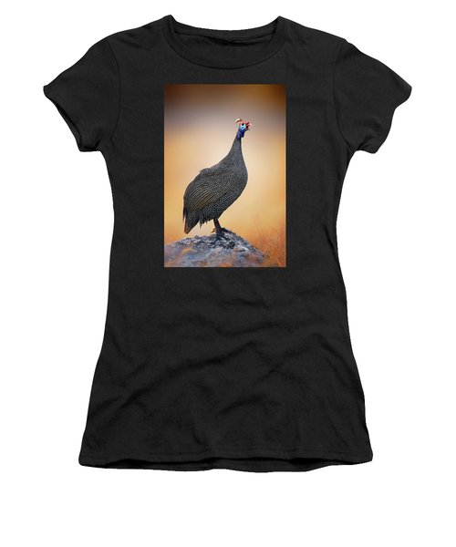 Helmeted Guinea-fowl Perched On A Rock Women's T-Shirt