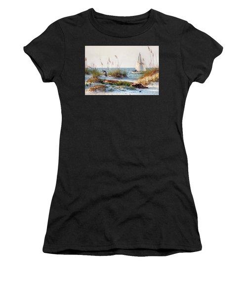 Heron And Sailboat Women's T-Shirt