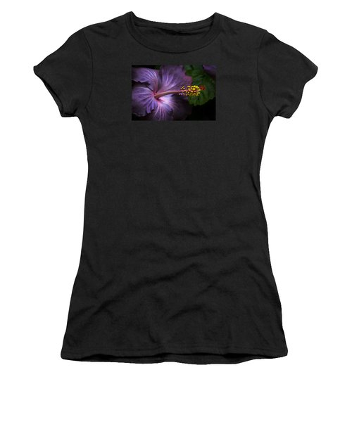 Women's T-Shirt (Athletic Fit) featuring the photograph Hibiscus Bloom In Lavender by Julie Palencia