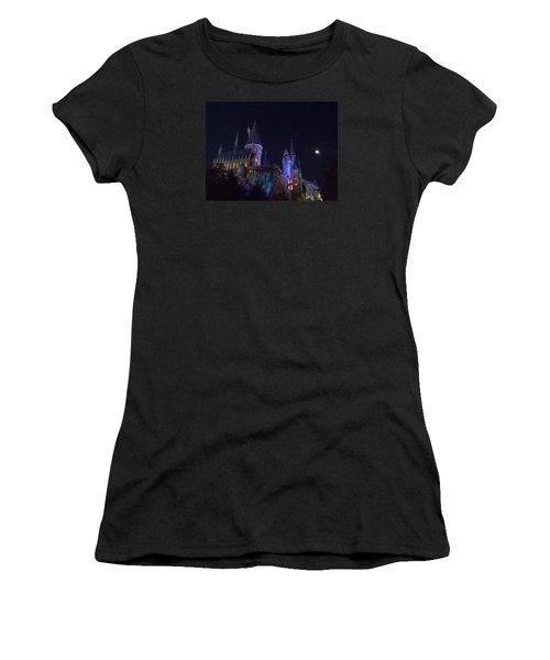 Hogwarts Castle At Night Women's T-Shirt (Junior Cut) by Kathy Long
