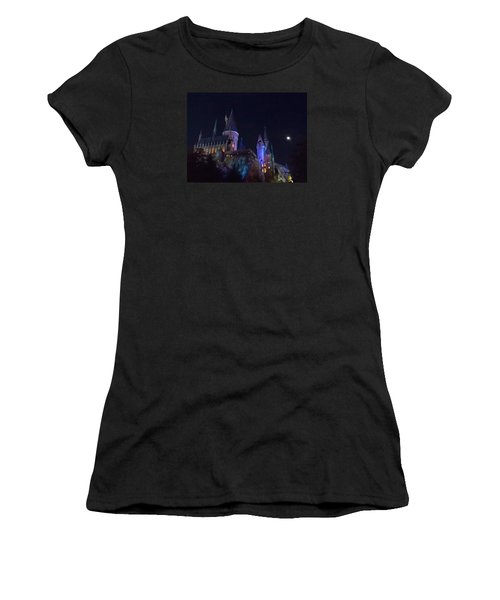 Hogwarts Castle At Night Women's T-Shirt (Athletic Fit)