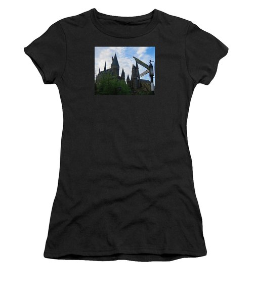 Hogwarts Castle With Signs Women's T-Shirt (Junior Cut) by Kathy Long