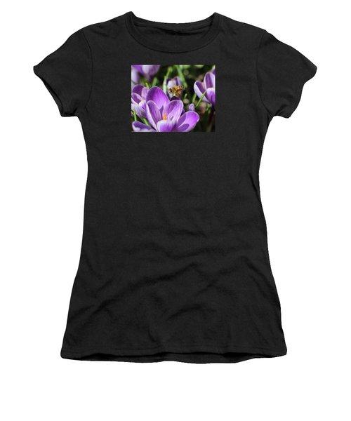Honeybee Flying Over Crocus Women's T-Shirt (Junior Cut) by Lucinda VanVleck