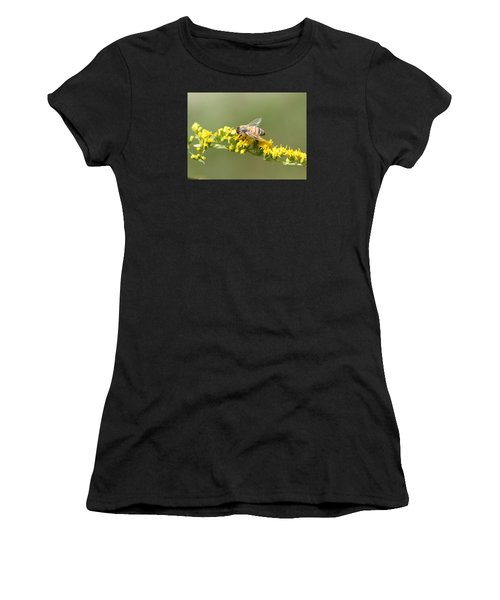 Honeybee On Goldenrod Twig Women's T-Shirt (Athletic Fit)