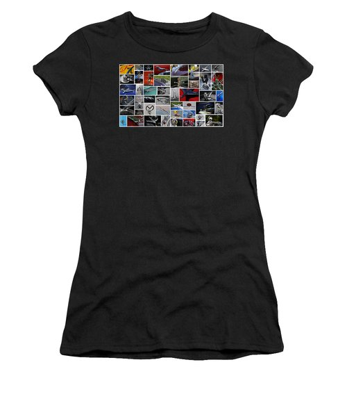 Women's T-Shirt (Junior Cut) featuring the photograph Hood Ornament Collage by Mike Martin