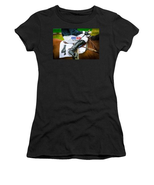 Women's T-Shirt featuring the photograph Horse Racing by Robert L Jackson