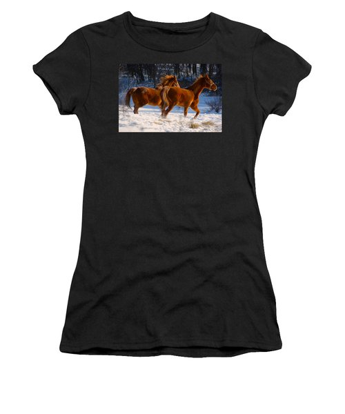Horses In Motion Women's T-Shirt (Athletic Fit)