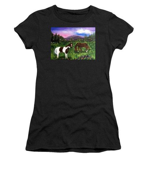 Horses Women's T-Shirt (Junior Cut) by Jamie Frier