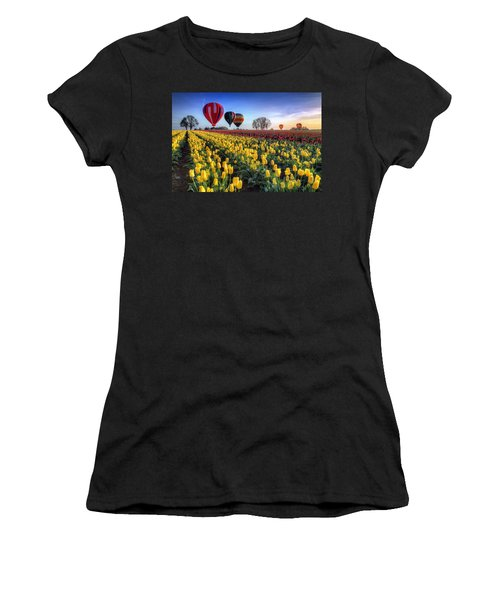 Women's T-Shirt (Junior Cut) featuring the photograph Hot Air Balloons Over Tulip Fields by William Lee