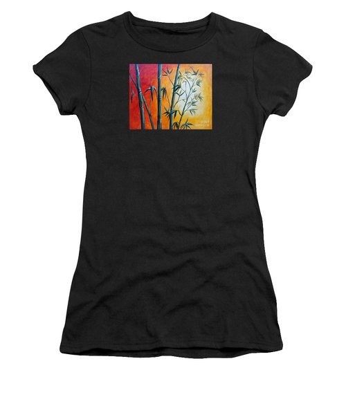 Women's T-Shirt featuring the painting Hot Bamboo Days by Phyllis Howard