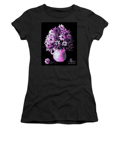 Hot Pink Flowers Women's T-Shirt (Junior Cut) by Hazel Holland