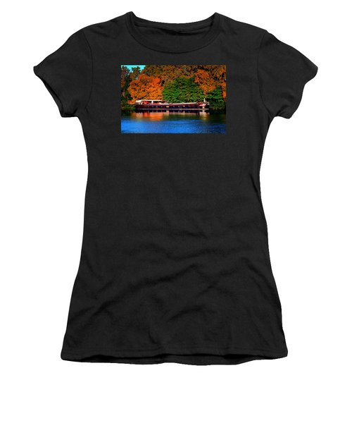 Women's T-Shirt (Junior Cut) featuring the photograph House Boat River Barge In France by Tom Prendergast