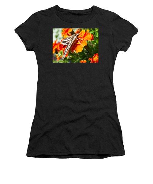 Hummingbird Moth On A Marigold Flower Women's T-Shirt (Athletic Fit)
