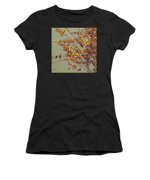 Hummingbirds On Yellow Tree Women's T-Shirt