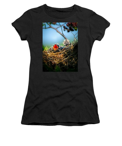 Hungry Tree Swallow Fledgling In Nest Women's T-Shirt (Athletic Fit)