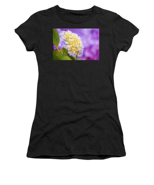 Hydrangea On Purple Women's T-Shirt (Athletic Fit)