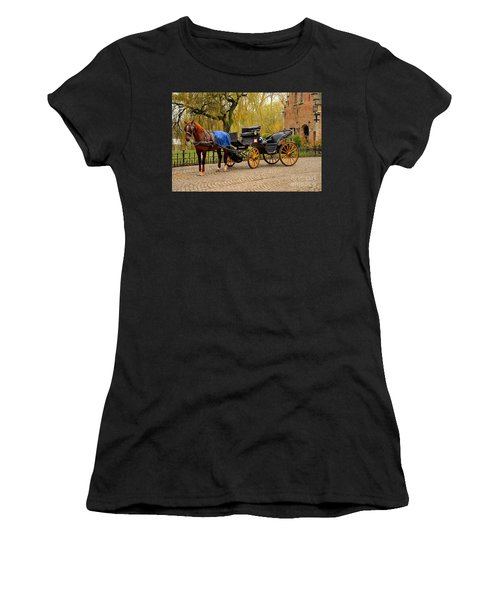 Immaculate Horse And Carriage Bruges Belgium Women's T-Shirt