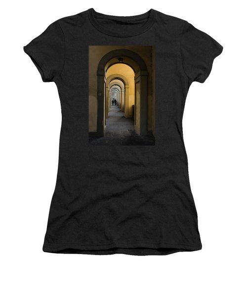 In A Distance - Vasari Corridor In Florence Italy  Women's T-Shirt