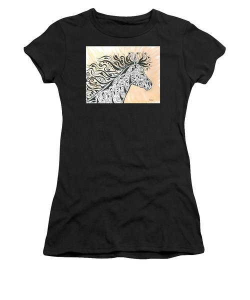 Women's T-Shirt (Junior Cut) featuring the painting In The Wind by Susie WEBER