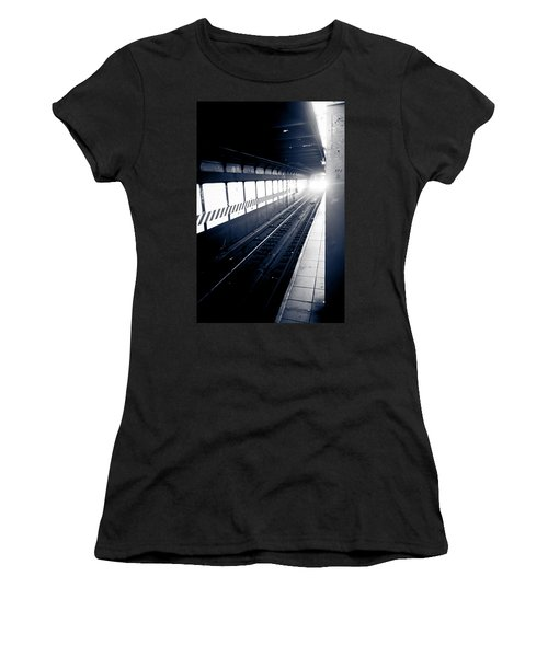 Women's T-Shirt (Junior Cut) featuring the photograph Incoming At The Subway - New York City by Peta Thames