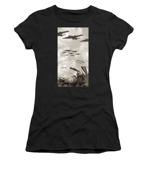Indian 841 And The B-17 Panoramic Sepia Women's T-Shirt