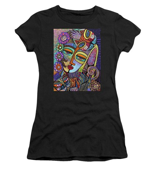 Indigo Tapastry Royal Cats Women's T-Shirt (Athletic Fit)