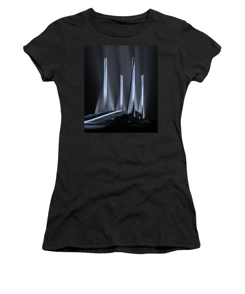 Inlet Bridge Light Trails In Cyan Women's T-Shirt (Athletic Fit)
