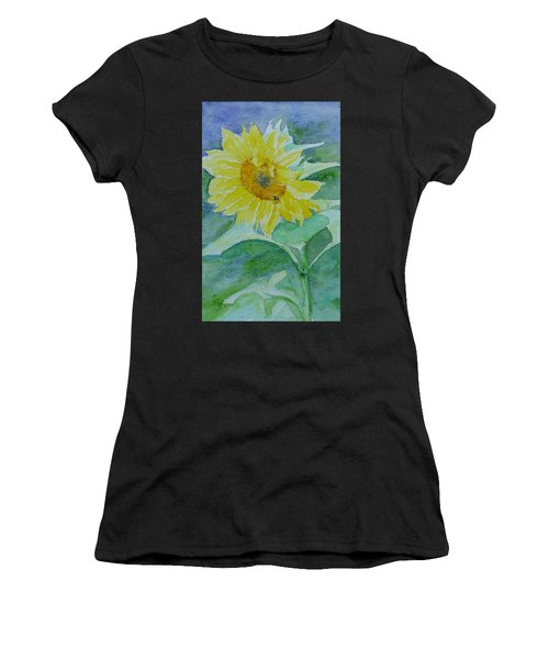 Inviting Sunflower Small Sunflower Art Women's T-Shirt (Athletic Fit)
