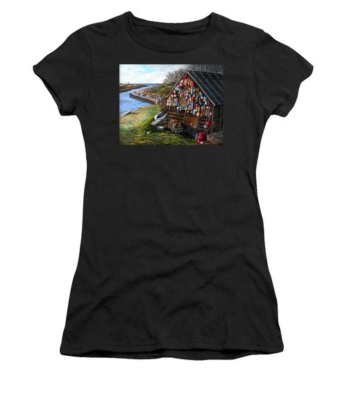 Ipswich Bay Wooden Buoys Women's T-Shirt (Junior Cut) by Eileen Patten Oliver