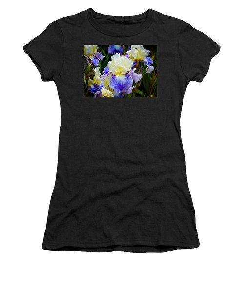 Women's T-Shirt (Junior Cut) featuring the photograph Iris In Blue And Yellow by Patricia Babbitt