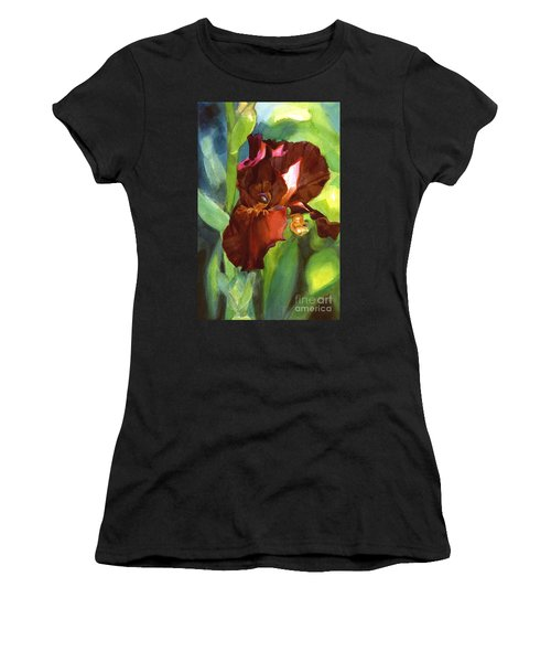 Watercolor Of A Tall Bearded Iris In Sienna Red Women's T-Shirt