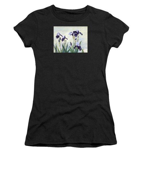 Irises Purple Flowers Painting Floral K. Joann Russell                                           Women's T-Shirt (Athletic Fit)