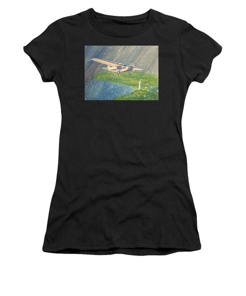 Island Airlines Ford Trimotor Over Put-in-bay In The Winter Women's T-Shirt