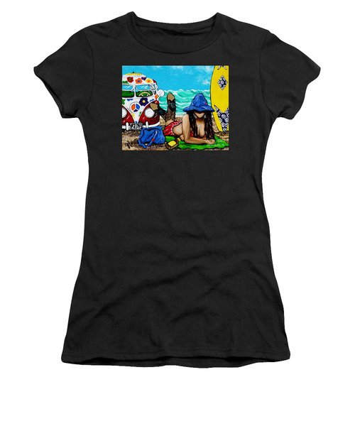 J. C. Beaching It In 1961 Women's T-Shirt (Athletic Fit)