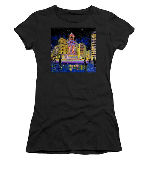 Jacobins Fountain During The Festival Of Lights In Lyon France  Women's T-Shirt