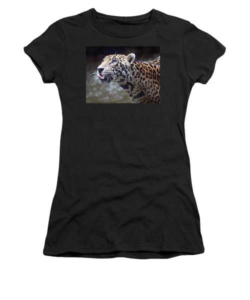 Women's T-Shirt (Junior Cut) featuring the photograph Jaguar Sticking Out Tongue by Shoal Hollingsworth